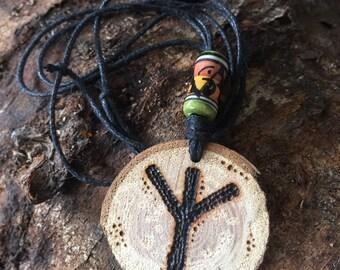 Rune necklace wood burned design