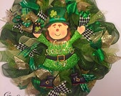 St. Patrick's Day wreath, Leprechaun wreath, march wreath, mesh wreath, st. pattys day wreath, luck of the Irish wreath