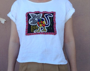 VTG 90's cropped white top with sewed on pearl design