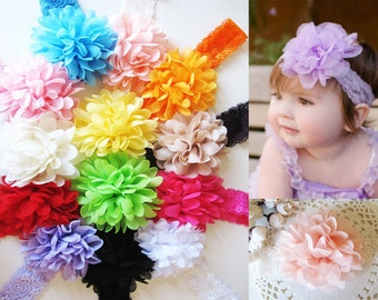 Large Ruffle Flower Baby Headband-Lots of colours available