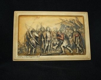 "Great Gift for Your Collector, Vintage Plaster Plaque, Osborne Ivorex ""Landing of the Pilgrims 1620"""