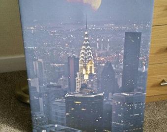 Chrysler Building New York City with Moonlight Setting