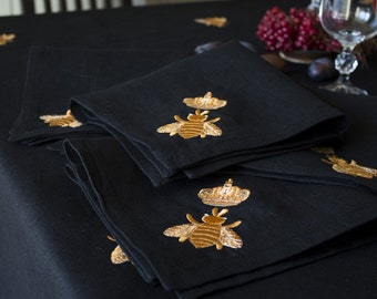"Black linen dinner napkins with ""gold bee""embroidery"