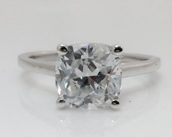 3.50 Cushion Cut Solitaire Engagement Wedding Ring 14K White Gold +FREE GIFT
