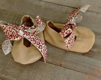 Tan and pink cheetah baby shoes, cheetah baby girl shoes