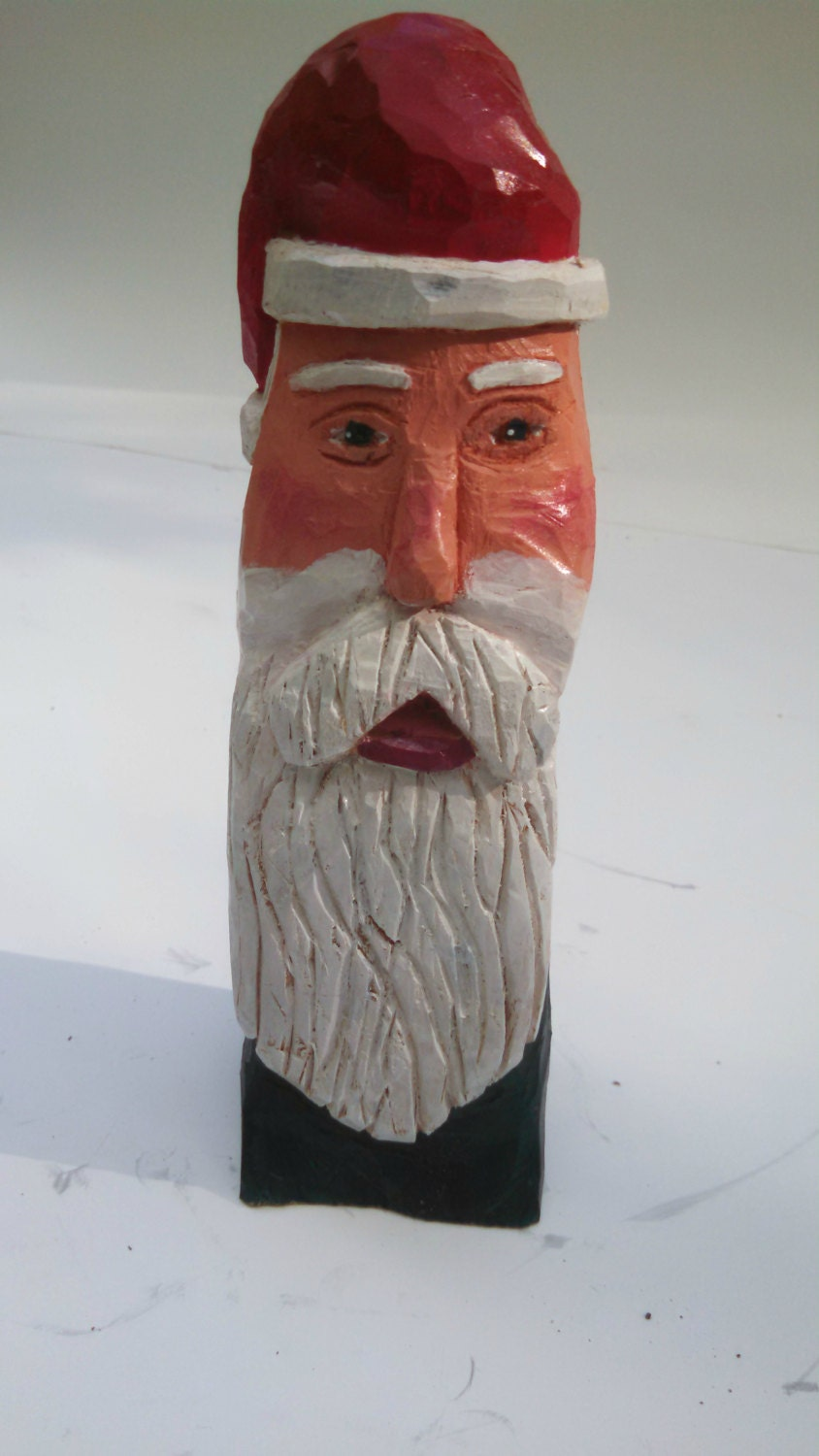 Santa carving hand carved wooden st nicholas