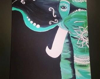 Turquoise Elephant Painting