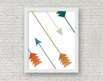 Copper & Teal Arrows Digital Wall Art, Home Decor, Printable Art