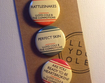 Rattlesnakes (Set 1) - LLOYD COLE (& The Commotions) 3 Badge Set