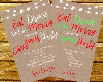 Eat drink and be merry invitations, Christmas invite template, holiday invitations, Christmas party invitations   Art Party Invitations