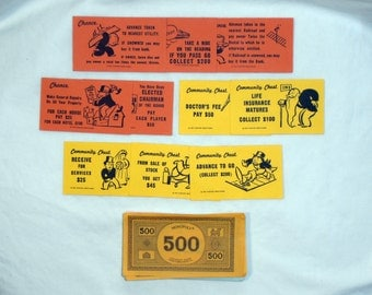 Monopoly Game Pieces - Monopoly Money - Monopoly Chance and Community Chest Cards - Craft Project Starter - 1935 Monopoly Game Pieces