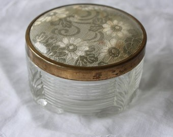 Powder box made with Depression glass