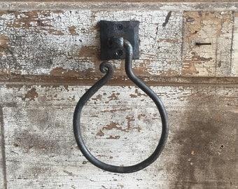 Sale! Simple Towel Ring, Hand Forged Metal, Hand Towel, Rustic, Western, Ranch Style, Handmade, Towel Hanger