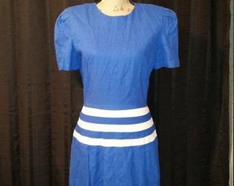 Vintage Royal Blue and White Linen Blend Dress