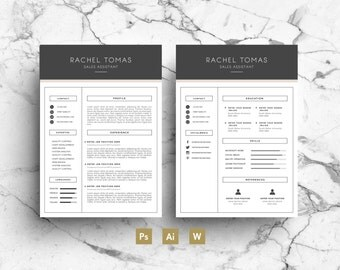 Two Page Resume two page cv template resume templates on thehungryjpegcom 1222 Two Page Resume Template Professional Design Simple Graphics Modern Font Downloadable Printable Cv Package