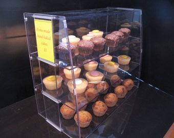Clear Plastic Acrylic Cake Food Delicatessen Display Cabinet Case Shelves