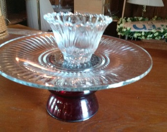 Glass Plate on Pedestal with Small Bowl Dessert Stand