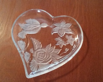 Heart Shaped Dish with Hummingbird and Flowers