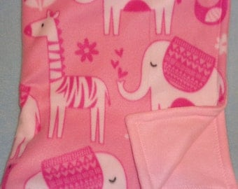 Pink fleece baby blanket with zoo animals