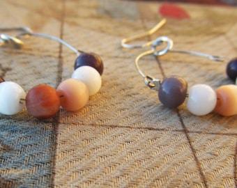Catseye Earthy Hoop Earrings, White, Purple, Grey, and Light Pink, Handmade Loop Earrings