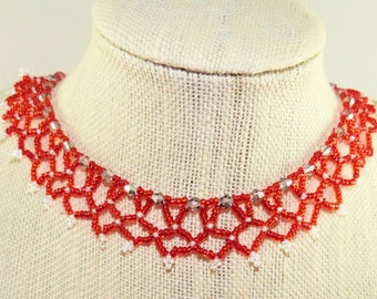 Woven Necklace Lady in Red