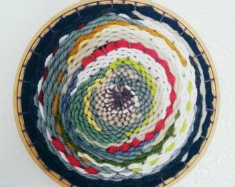 Blue Multicolor Weaving with Navy, Pink, White, and Cream, Woven Wall Art, Modern Home Decor, Fiber Art Textile Weaving, Christmas Gift