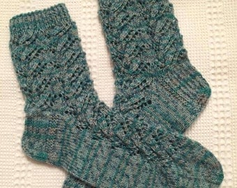 EUR Size 36 / US 4.5 / UK 3.5 / Handknitted Toddler Child Warm Wool Socks, Multicolor, Lace Knit