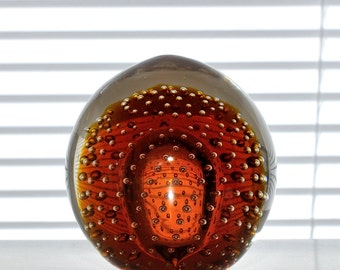 Vintage Controlled Bubble Art Glass Paperweight