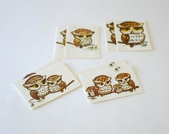 8 Vintage Owls Blank Note Cards  by Cape Shore