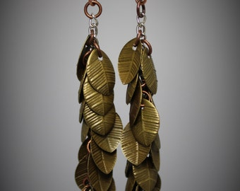 Antique Gold Leaf Dangle Earrings