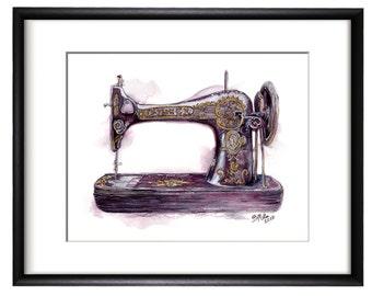 Vintage Singer Sewing Machine Fine Art Giclee Print