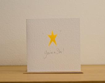 Star, shining star, Thank you, happy birthday, thinking of you, cut card
