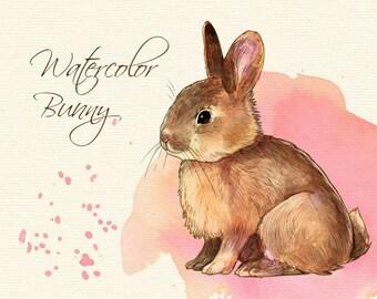 Watercolor bunny clip art/ cute bunny clip art/ watercolor bunny/ bunny clip art/ Easter bunny clip art/inked bunny/bunny coloring page