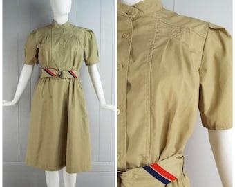 Vintage Womens 1980s Tan Short Sleeve Belted Shirtwaist Dress | Size S/M