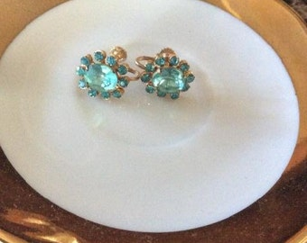 Vintage Gold Tone Blue Crystal and Rhinestone Screw Back Earrings