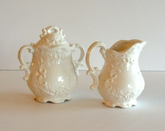 Fancy English Inspired Creamer Pitcher and Sugar