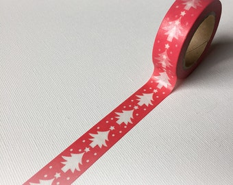 Red Christmas tree washi tape, xmas washi, printed paper tape, embellishment, craft tape (0082)