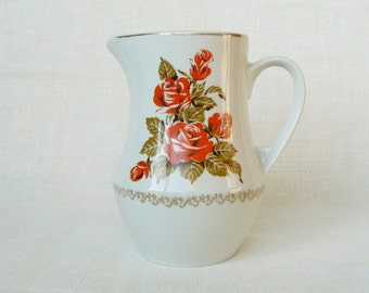 Vintage Porcelain Pitcher, Juice or Water Jug, Red Roses, Vintage Style Decor, Latvia, 1980s
