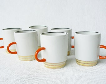 Set of 2_ Russian Vintage Porcelain Espresso/ Coffee Cups, White & Orange, Vintage Style Table Serving, USSR