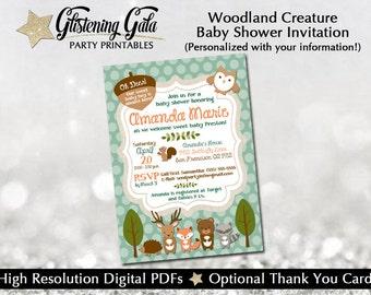 Custom Woodland Creature Baby Shower Invitation-- Digital, you print yourself!