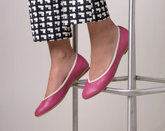 Pink shoes, Pink ballet flats, Pink leather shoes, Flat shoes, Ballet flats, Wedding shoes, Bridal shoes, Women flats,  Pink