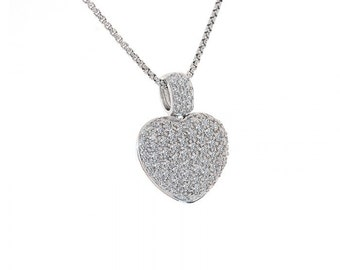 2.00 Carat Round Cut Diamond Heart Pendant Necklace 14K White Gold