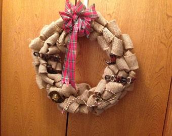 WESTERN COWGIRL COWBOY Burlap Wreath, Barn Wreath, Front Door Wreath, Barn Decor, Horse Lover Wreath, Cowboy Boots, Cowboy Hat, Barn wedding
