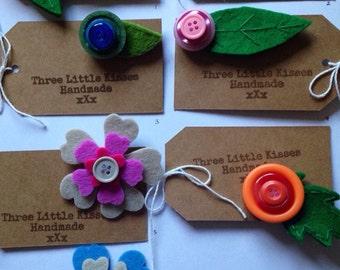Handmade felt and button brooch