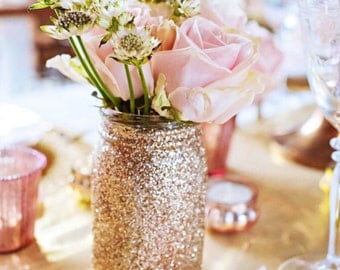 SET OF 10 Pint Size Glitter Mason Jars//Wedding Centerpiece//  Baby Shower// Sweet Sixteen.