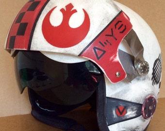 Star Wars custom 1:1 full size X-Wing style rebel flight helmet prop / costume.
