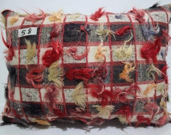 Vintage Turkish Tulu Rug Pillow Cover 16x20 hand woven kilim pillow ,Turkish pillow,decorative kilim pillow,kilim cushion cover SP4040-57
