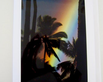 Rainbow over Palm Trees Photo Card