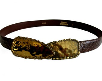 Vintage Brown Snakeskin Belt with Antiqued Brass Buckle size M