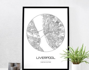 Liverpool Map Print - City Map Art of Liverpool England Poster - Coordinates Wall Art Gift - Travel Map - Office Home Decor